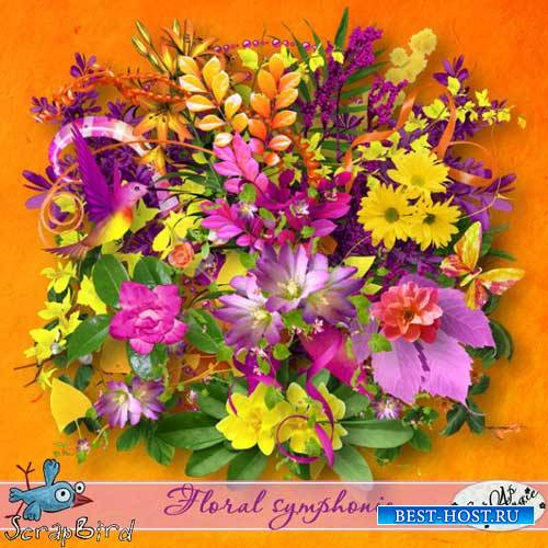 Яркий цветочный скрап-набор - Цветочная симфония