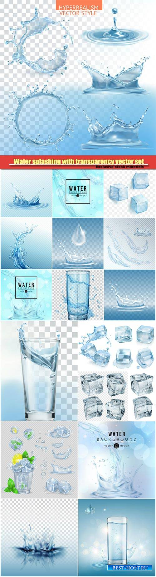Water splashing with transparency vector set, glass with water, green mint  ...