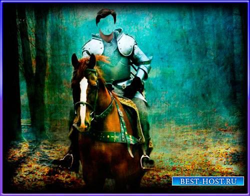 Многослойный шаблон мужской - Рыцарь на коне в лесу