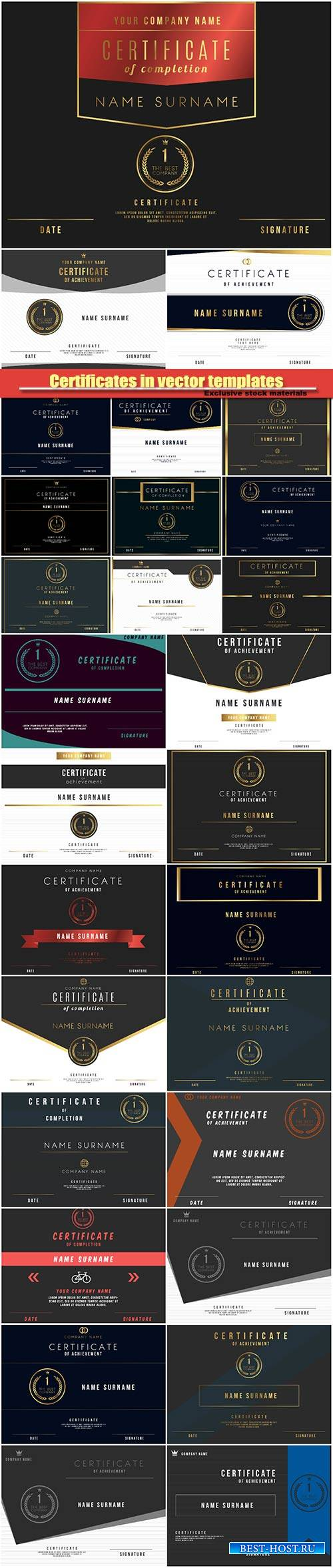 Certificates in vector templates