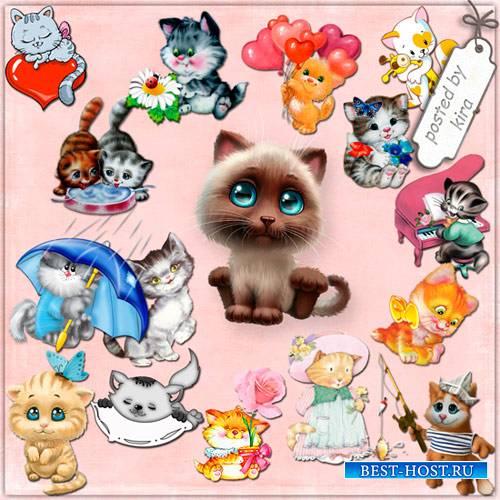 Клипарт - Нарисованные котята, милые кошечки