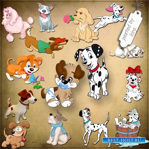 Клипарт - Нарисованные собачки, щенятки на прозрачном фоне