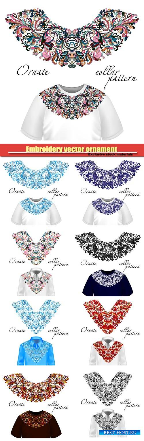 Embroidery vector ornament, shirt and t-shirt with beautiful embroidery