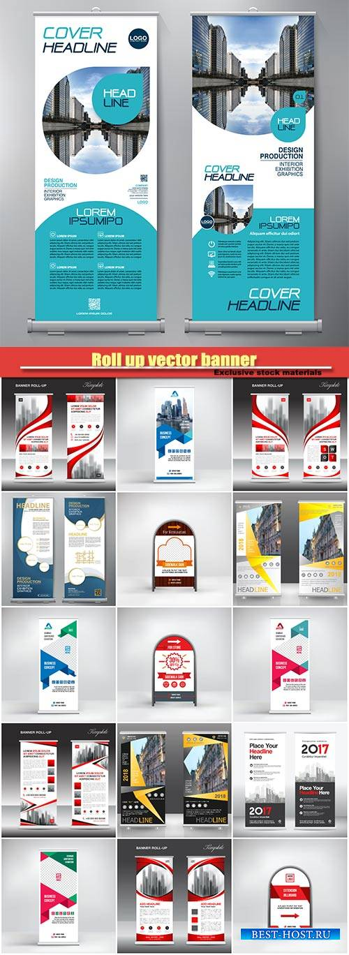 Roll up vector banner, stand template, poster, advertisement, business layo ...