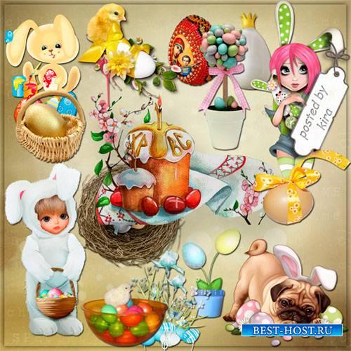 Клипарт - Пасхальные куличи, кролики, цыплята, корзинки, яйца и кластеры, ч ...