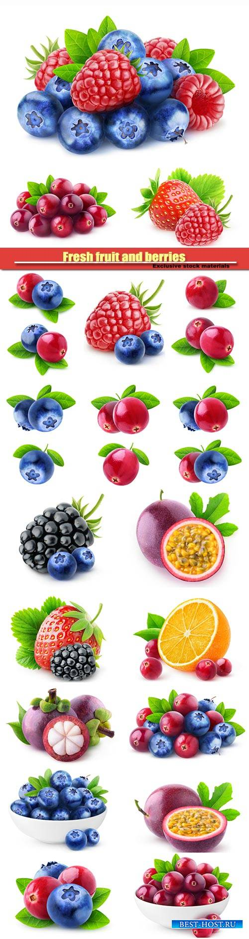 Fresh fruit and berries, blueberries and raspberries