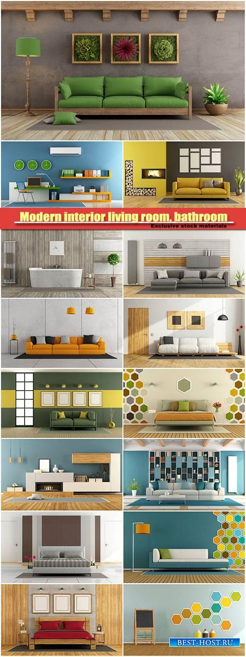 Modern interior living room, bathroom, minimalist home office
