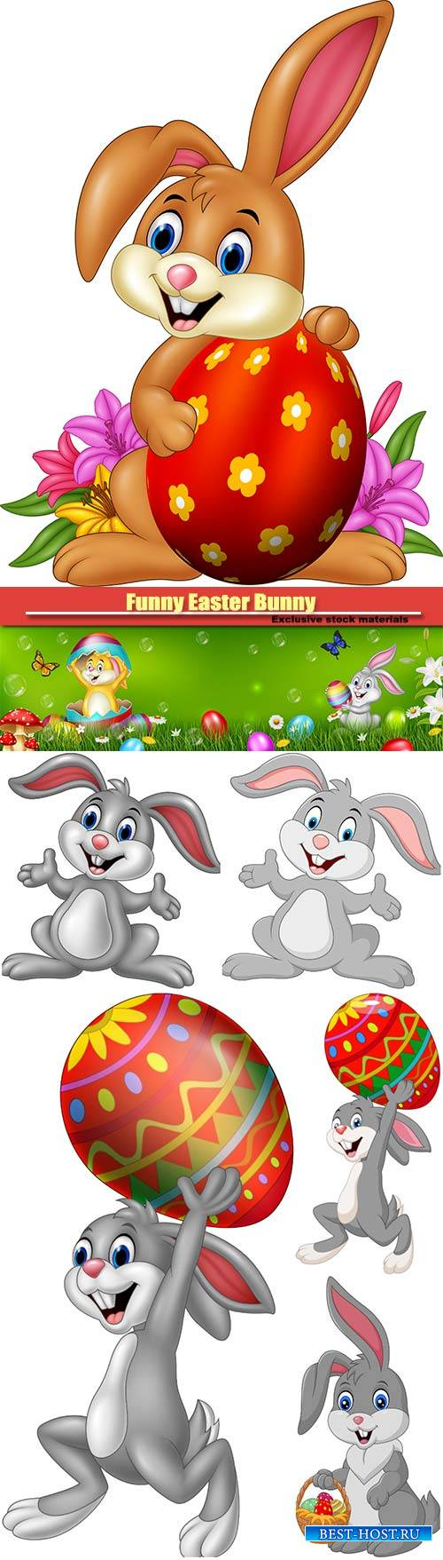 Funny vector Easter Bunny