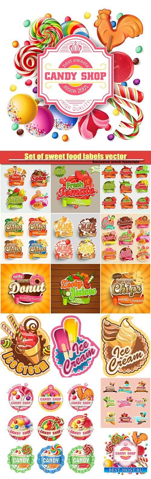 Set of sweet food labels vector illustration for cafe and restaurant menu