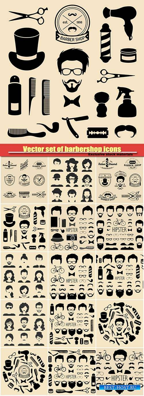 Vector set of barbershop icons with hipster face in flat style, hairdressin ...
