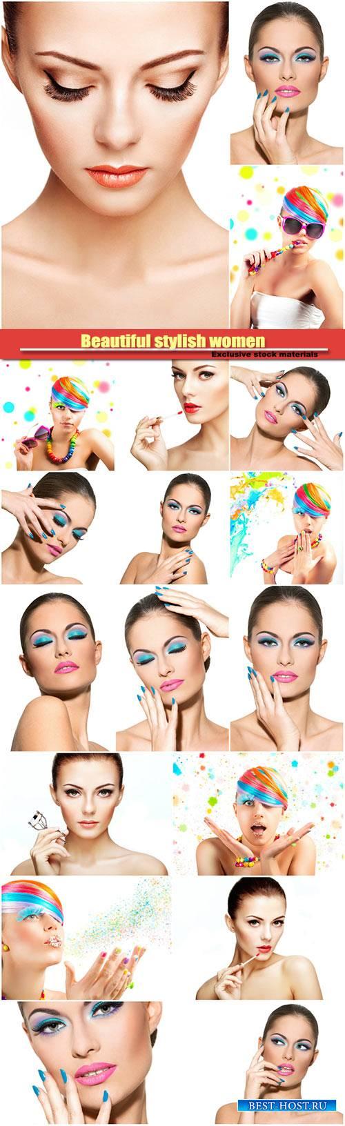Beautiful stylish women, fashionable bright makeup