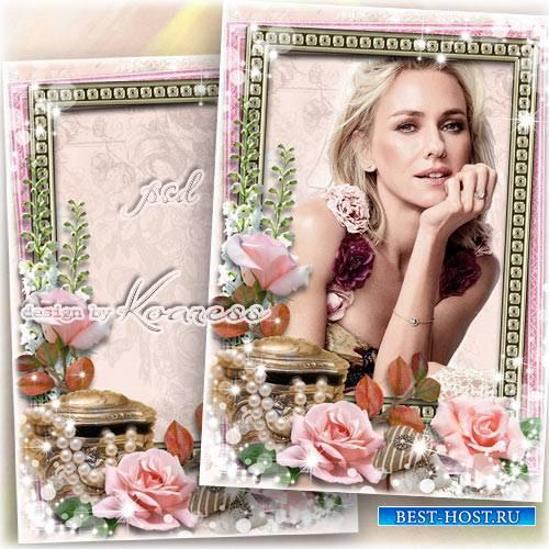 Романтическая рамка для фотошопа - Очаровательная леди