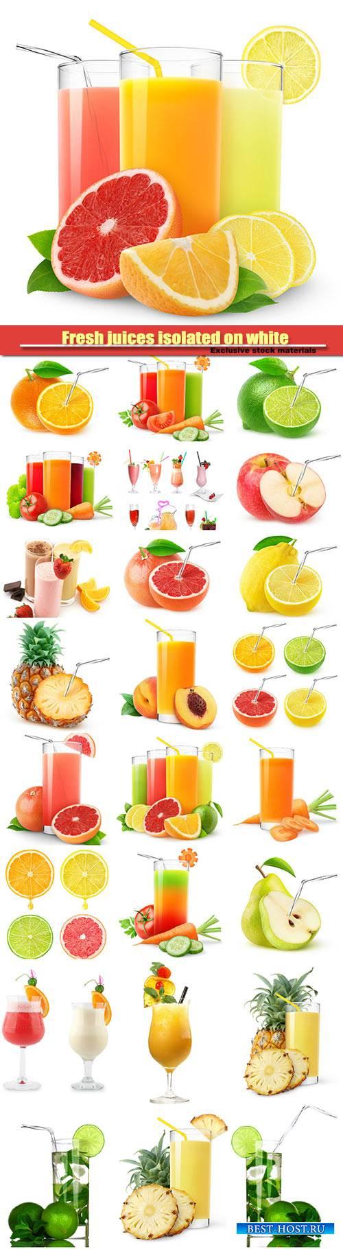 Fresh juices isolated on white background