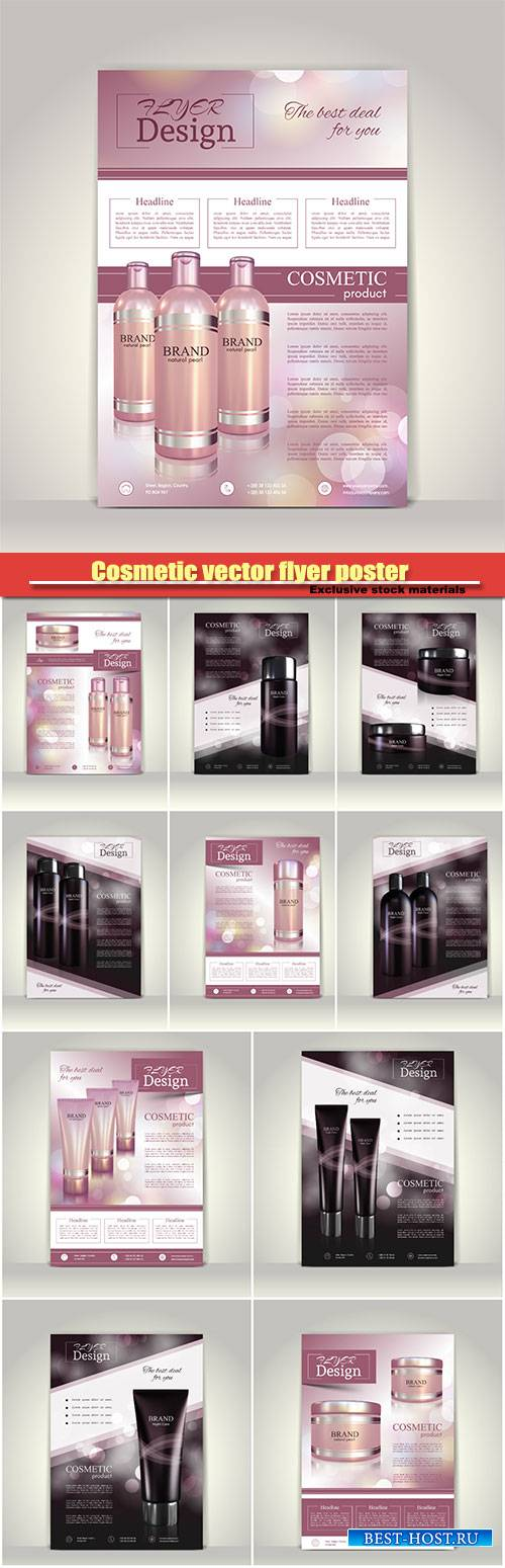 Cosmetic vector flyer poster, brochure magazine cover template