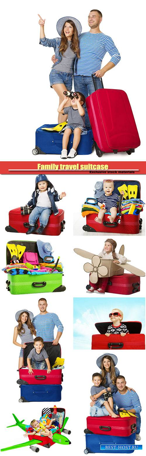 Family travel suitcase, people and vacation luggage