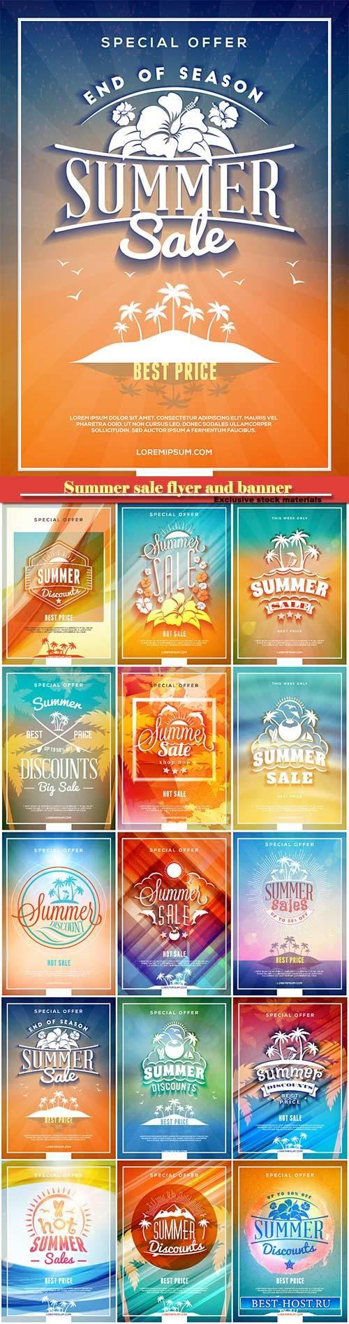 Summer sale flyer or banner vector design template