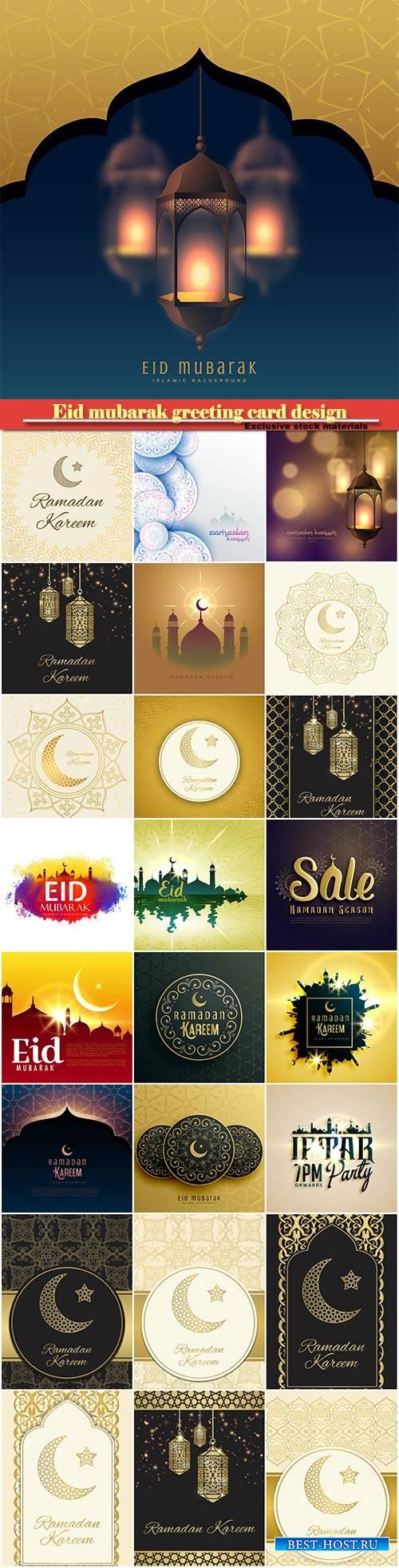 Eid mubarak greeting card design in islamic decoration, ramadan kareem vector card