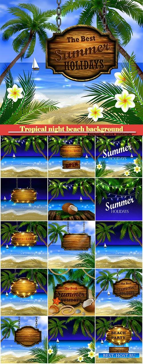 Vector summer wooden sign on tropical night beach background