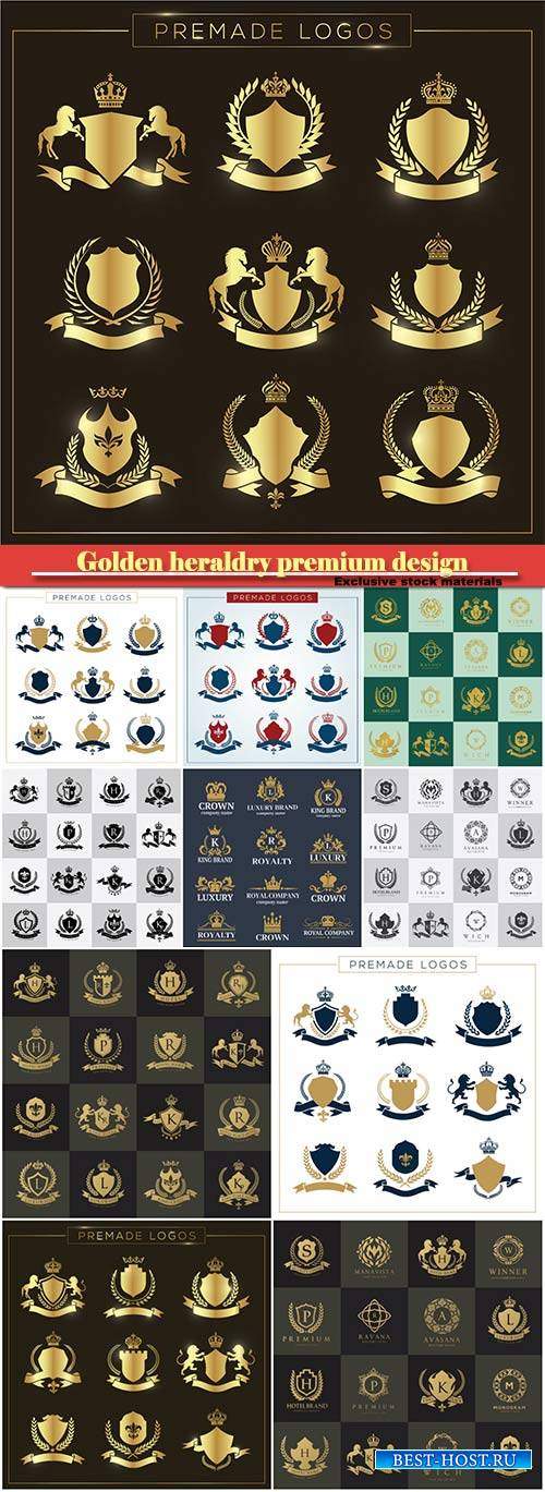 Golden heraldry premium design crown vector, emblems, logos