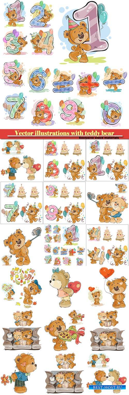 Vector illustrations with teddy bear, design elements for birthday greeting ...