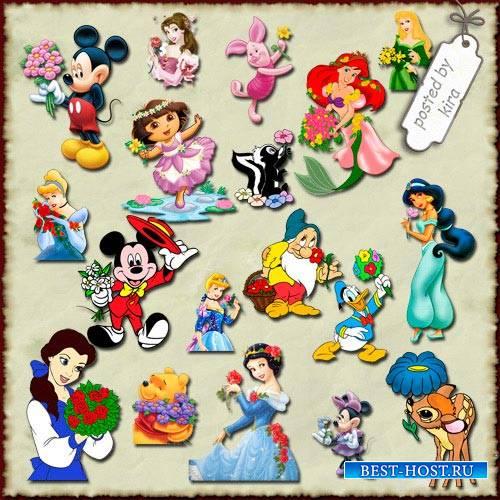Детский клипарт  - Герои иностранных мультфильмов дарят цветы