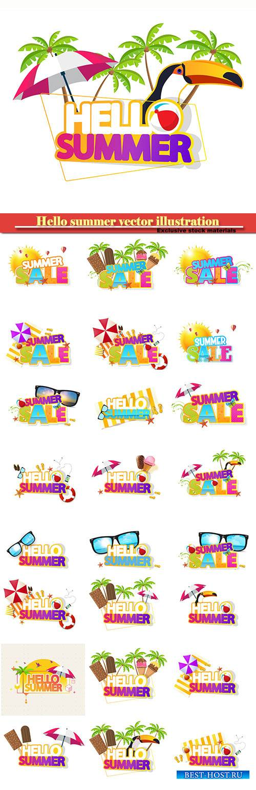 Hello summer vector illustration, summer sale
