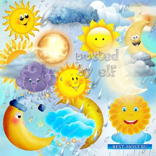 Клипарт png - Солнце, луна, дождь, тучи