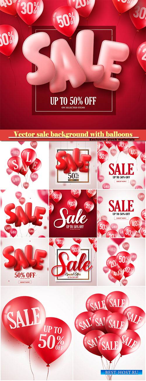 Vector sale background with balloons