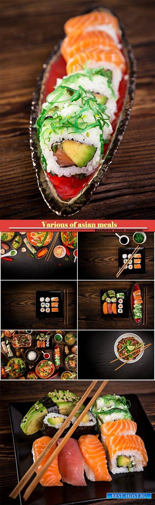 Various of asian meals on rustic background