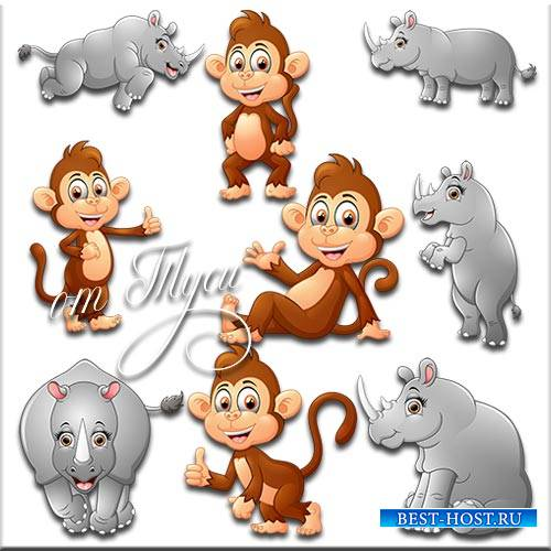 Клипарт - Обезьяна и носорог