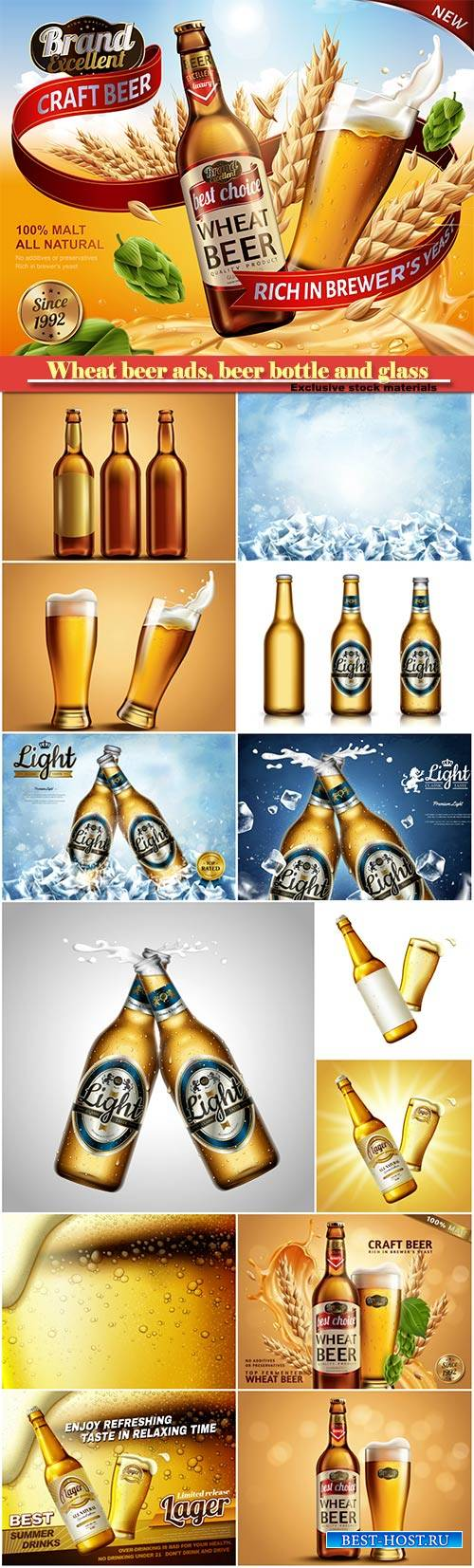 Wheat beer ads, beer bottle and glass with splashing beer and ingredients