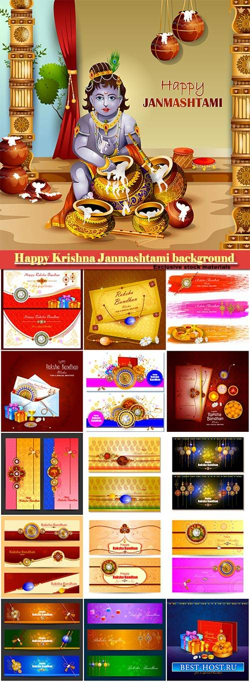 Easy to edit vector illustration of Happy Krishna Janmashtami greeting back ...