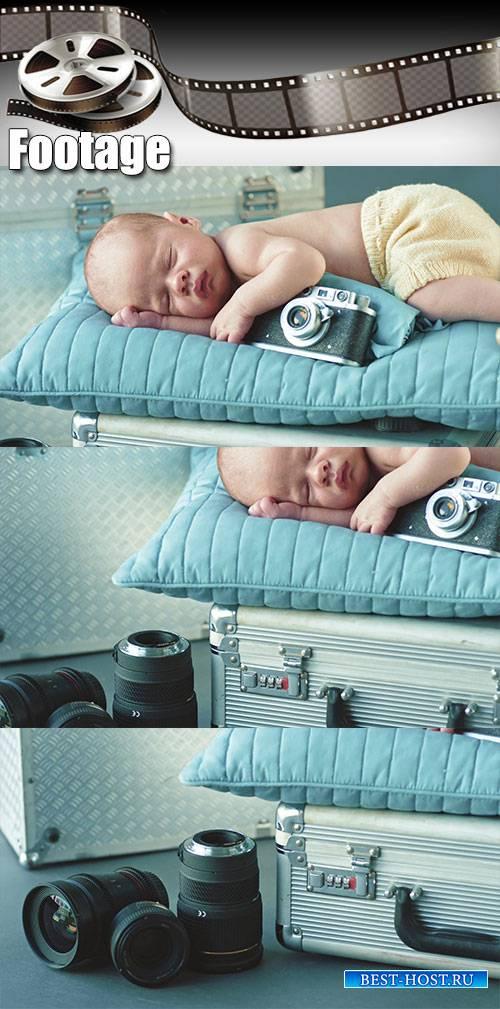 Video footage Cute little photographer