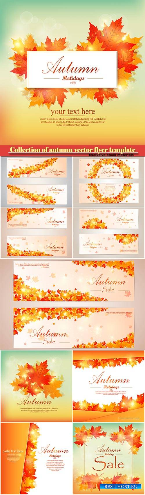 Collection of autumn sale and vector flyer template with lettering, bright  ...