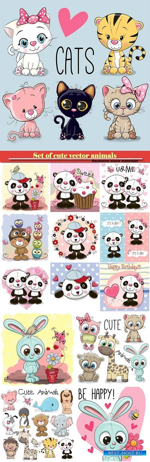 Set of cute animals, pandas, cute cats