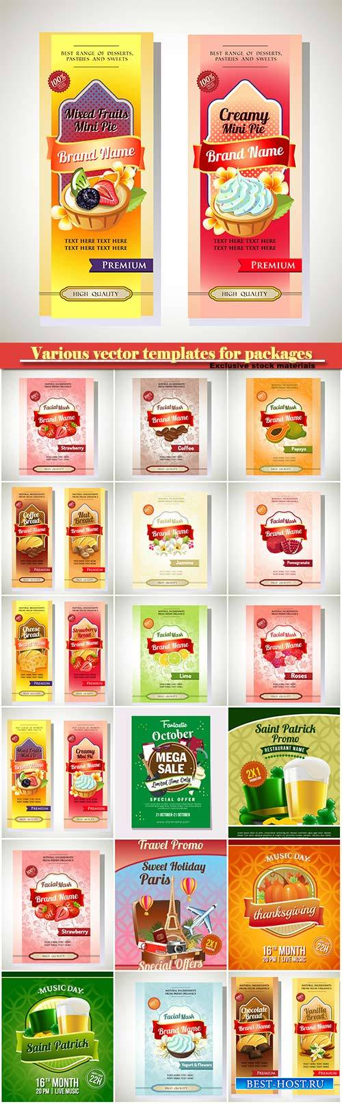 Various vector templates for packages