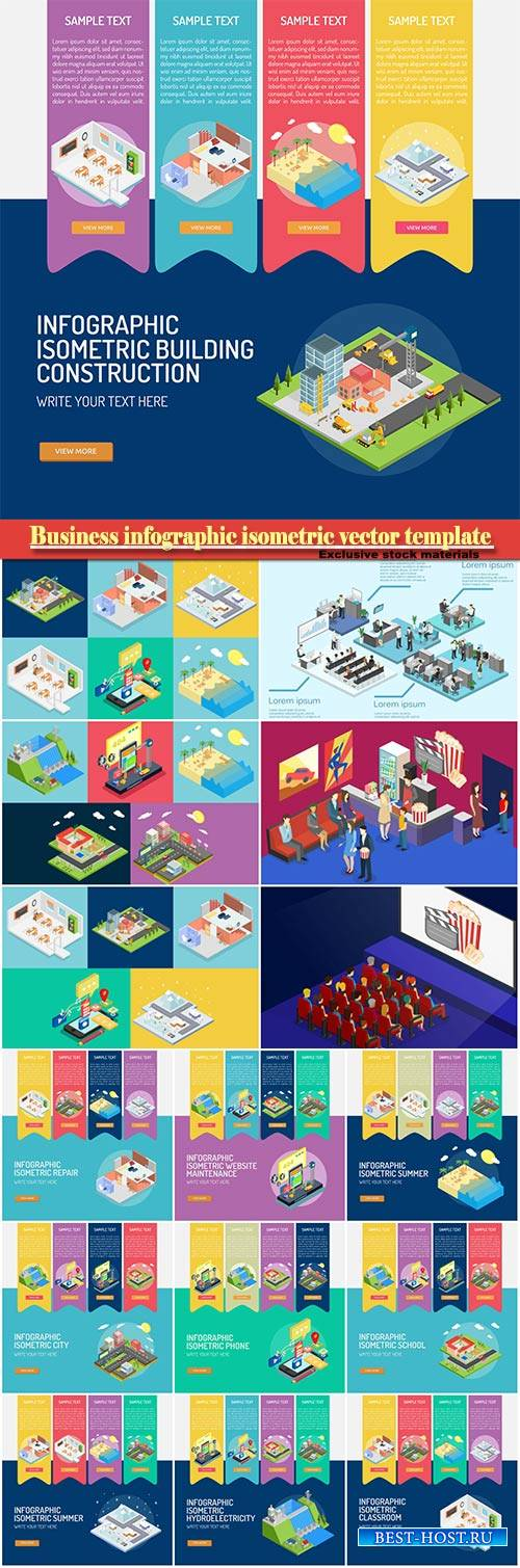 Business infographic isometric vector template