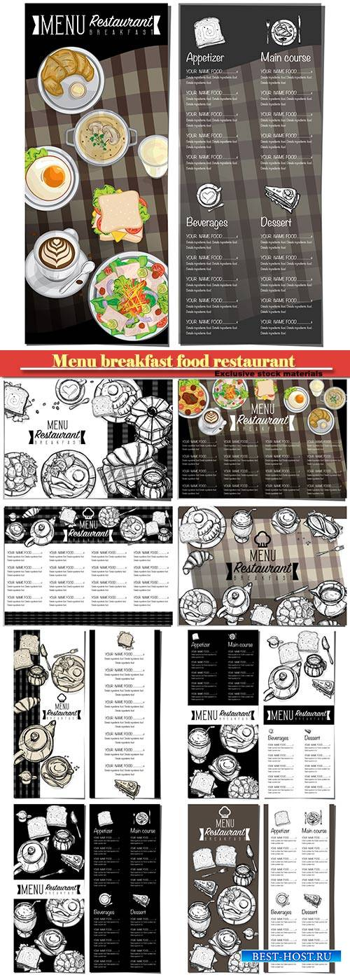 Menu breakfast food restaurant vector template design
