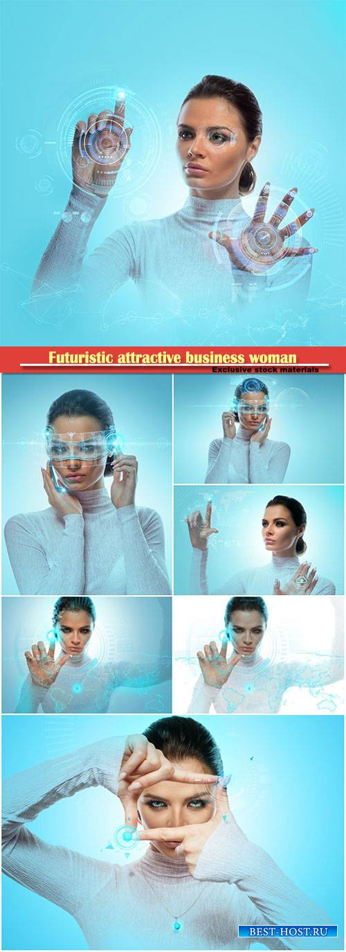Image of a futuristic attractive business woman wearing virtual glasses wor ...