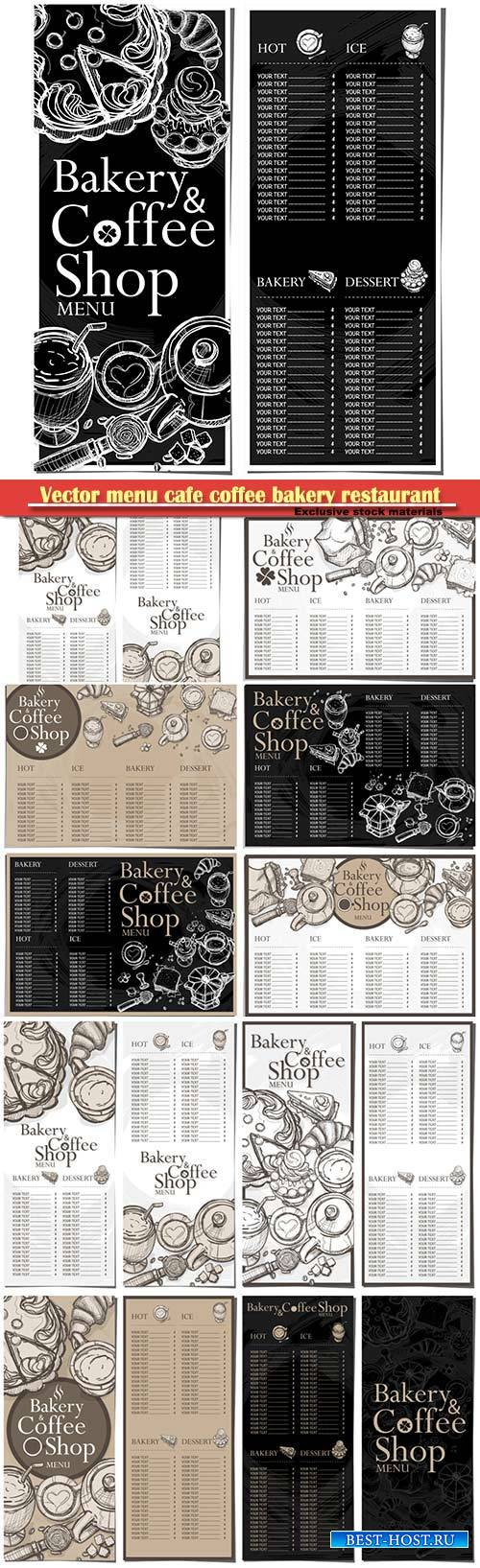 Vector menu cafe coffee bakery restaurant template design hand drawing