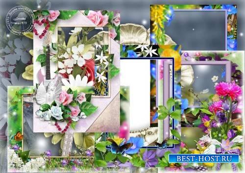 Набор рамок для фотошопа – Цветочные фантазии