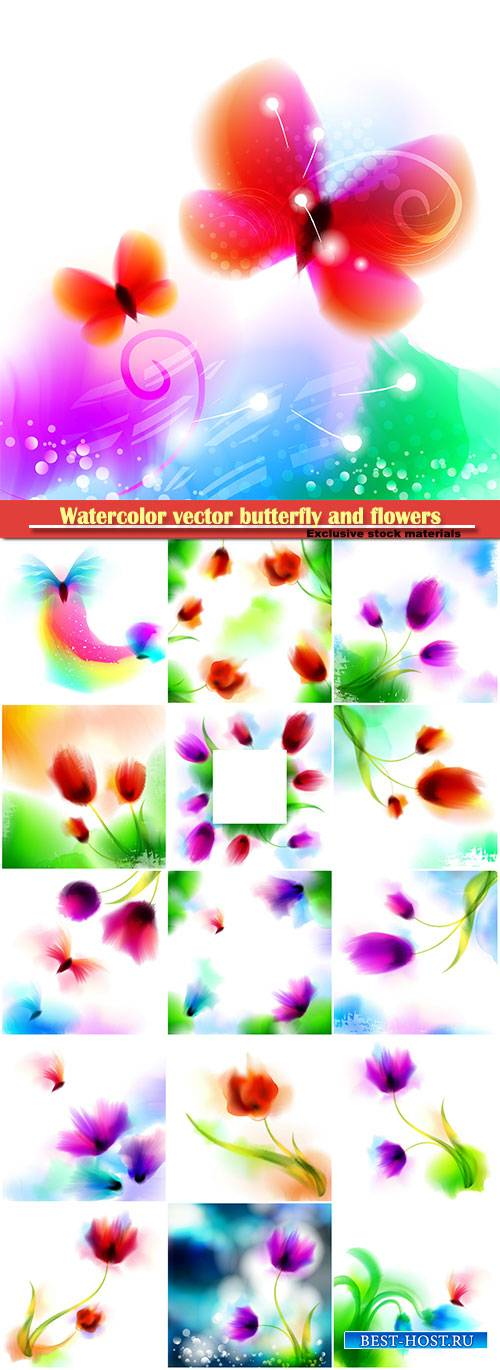 Watercolor vector romantic butterfly and blooming flowers
