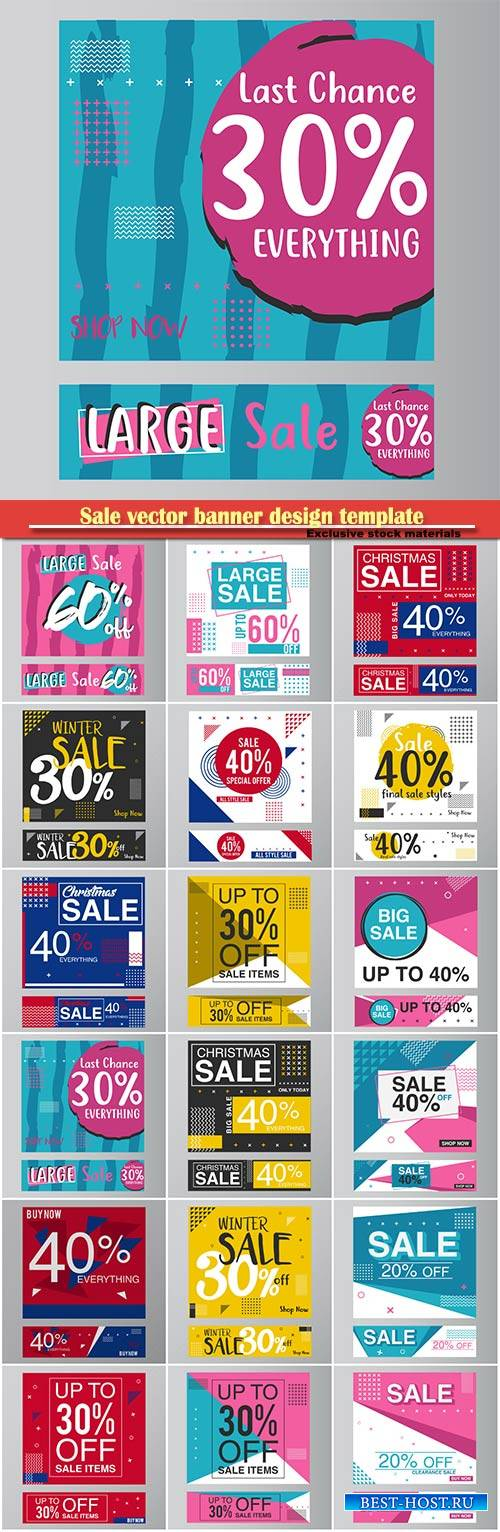 Sale vector banner design template