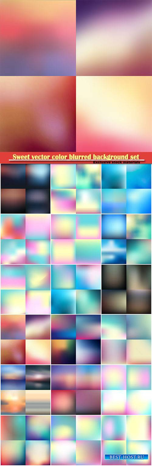 Sweet vector color blurred background set, pastel color design