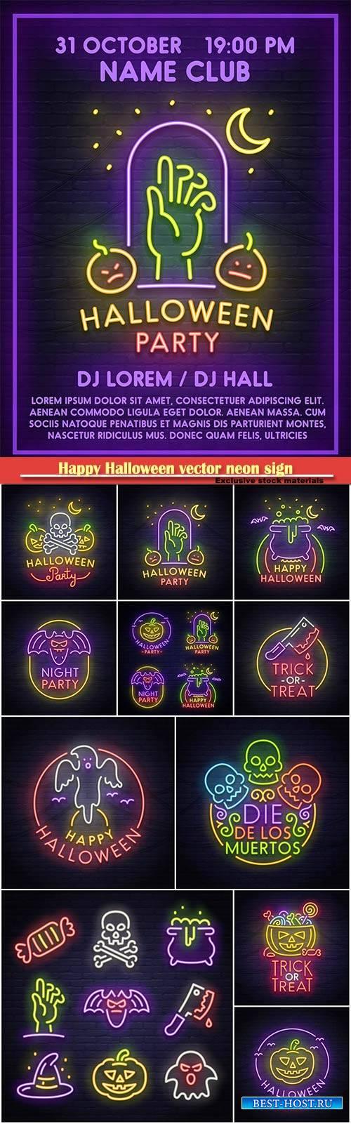 Happy Halloween vector neon sign, bright signboard, light banner