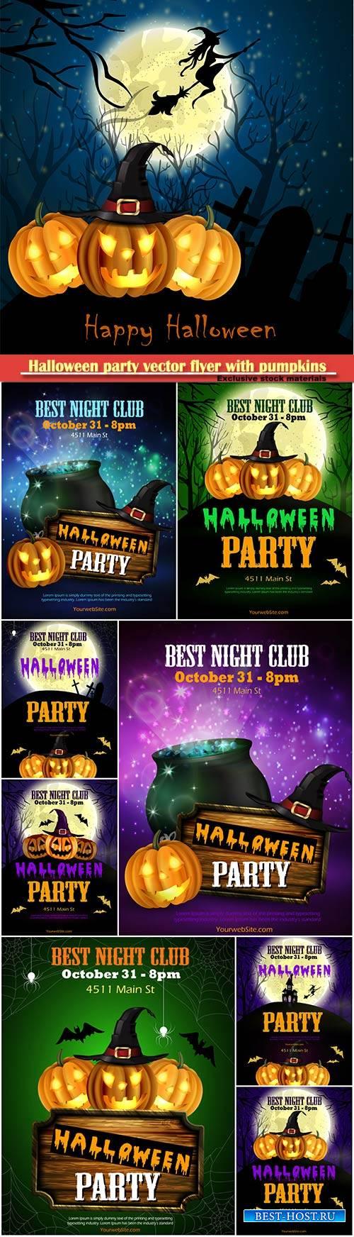 Halloween party vector flyer with pumpkins, hat