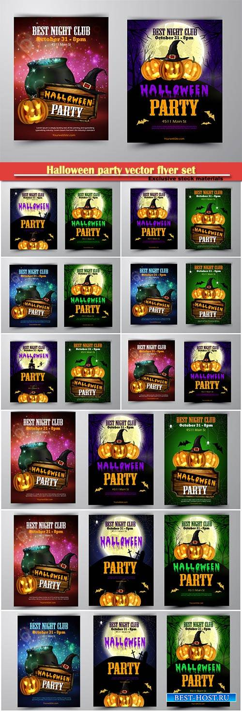 Halloween party vector flyer set with pumpkins, hat, bats witch and cemeter ...