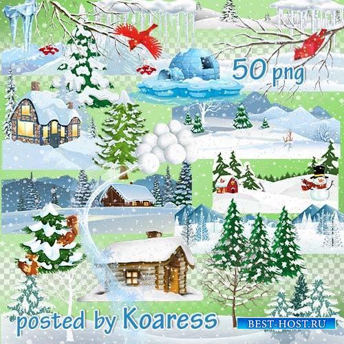 Зимний png клипарт для дизайна - элементы зимнего пейзажа, снежки, снегопад, сосульки