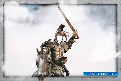 Фотошаблон для фотошопа - Воин на коне с мечом