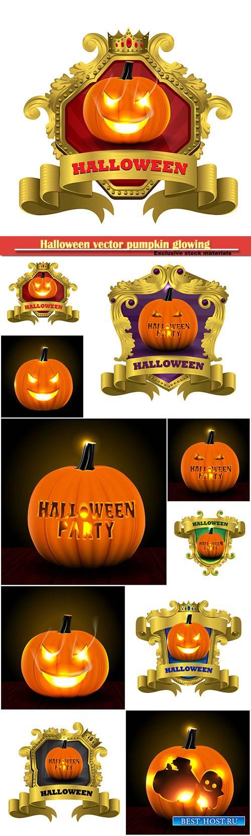 Halloween vector pumpkin glowing in darkness
